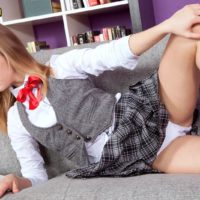 Teen sweetie Rachel James showing off upskirt college girl bloomers before baring flat chest