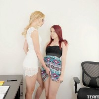 Teenager chicks Alexa and Nubs undress for fuckbox tonguing during rough lezzy sex