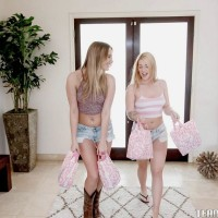 Teen girls Jenna and Kenna eat sapphic cooter and share dual fuck stick in pantyhose