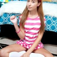 Nubile cutie Kaylee Haze flaunting small funbags and upskirt undies in knee socks