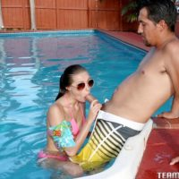 teenage XXX video starlet Carolina Sweets partakes in harsh sex while in a swimming pool