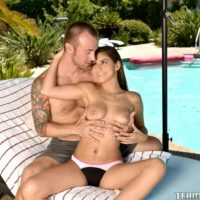 Teen X-rated film star Nina North performing xxx sex acts outdoors beside pool