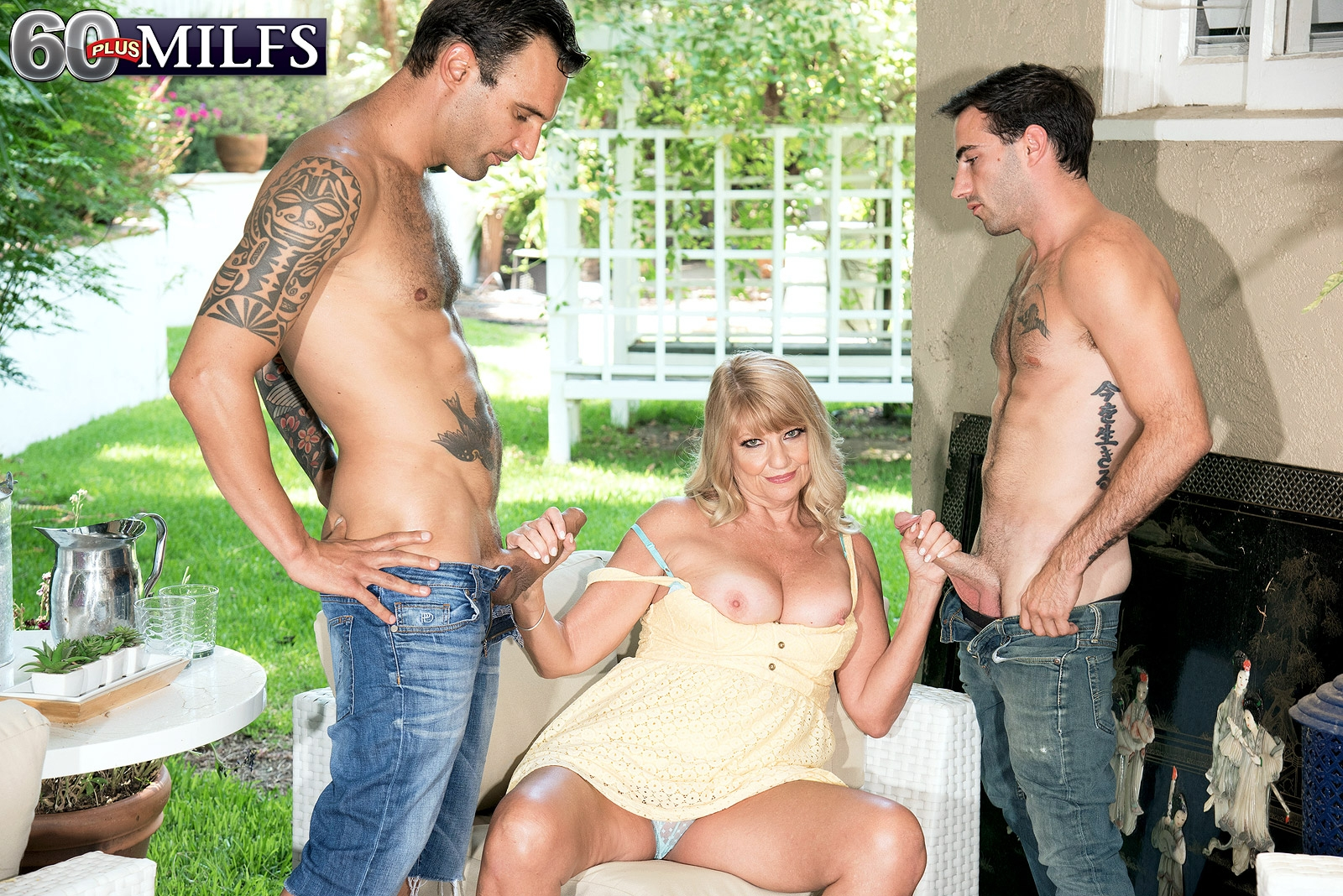 Thick sixty plus platinum-blonde Mia Magnusson tempts the gardeners outdoors for MMF sex