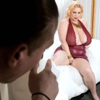 Thick blond Samantha 38G has her huge titties played with by a guy pal
