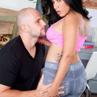 fatty Latina check with tattoos Angelina has her gigantic butt liberated from jeans by a man