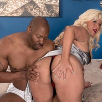 Thick elderly ash-blonde Lori Suarez looses her massive ass from silk lingerie for her black lover