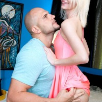 Lean blond teen Sammy Daniels takes hold of a hard penis after a panty show