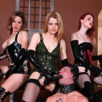 Three Domme gals poke masculine subs in the mouth and butt with strap on dicks