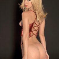 Top blond XXX star Jada Stevens struts in stripper boots before releasing her adorable bootie