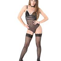 Ukrainian babe Veronica Clark tucks a sex toy in her cunny clad ebony tights