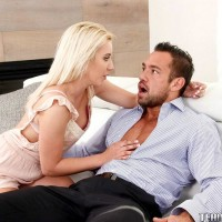Youthful platinum-blonde chick Brooke Underhill consoles old stud and pounds his monster-sized boner