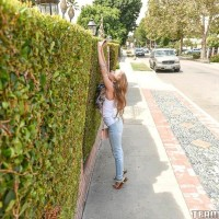 Young fair-haired chick Lilly Ford doffs her blue jeans on way to fucking an elderly dude